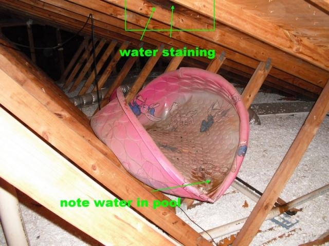 Kiddie Pool In Attic To Contain Water From Roof Leaks