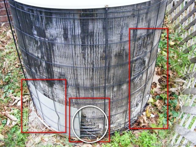 HVAC equipment is heavily damaged